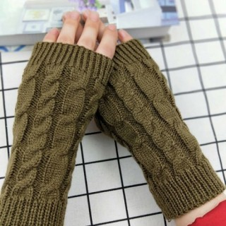 Winter Fashion Unisex Arm Warmer Fingerless Knitted Long Gloves Cute Mittens UK