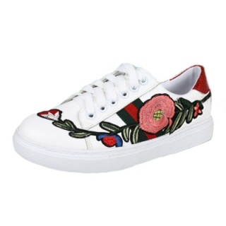Women's Casual Round Toe Floral Embroidery Lace up Shoes