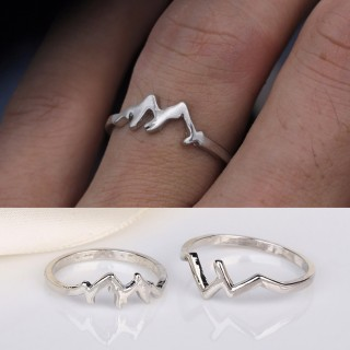 Women Fashion Creative Nature Snow Mountain Geometry Ring Hiking Snowboard Lover Jewelry Accessories