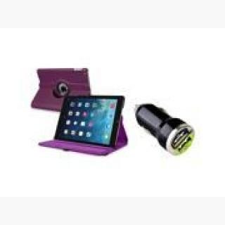 eForCity 360 Rotating Swivel Stand Leather Case, Purple with 2-Port USB Car Charger Adapter For Appl