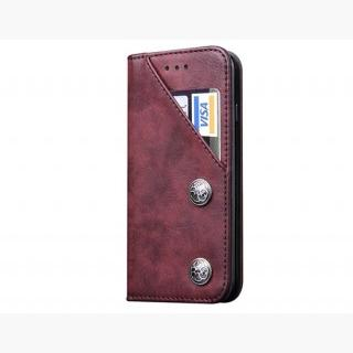 iPhone 6 Plus / iPhone 6S Plus Classic Style Wallet Card Holder PU Flip Case (Wine Red)
