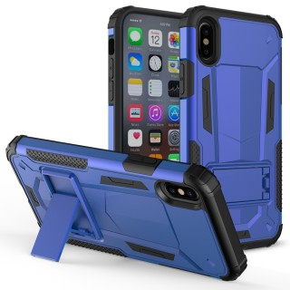 iPhone X Case - ZV [Hybrid Dual Layered] Case with [Built in Kickstand] Slim and Shockproof [UV Coat