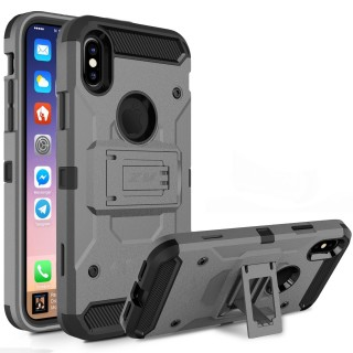 iPhone X Case - Zizo Tough Armor Cover w/ [Heavy Duty Kickstand] Holster Clip and a [Shockproof Dual