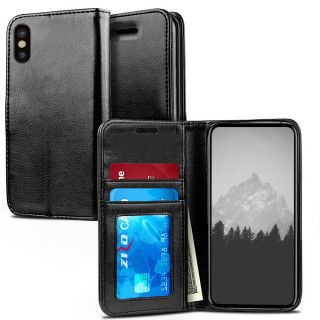 iPhone X Case - Zizo Wallet Case [Magnetic Flap Pouch] w/ Slimfit TPU [All In One Cover] w/ Credit C