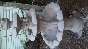 three tier concrete fountain